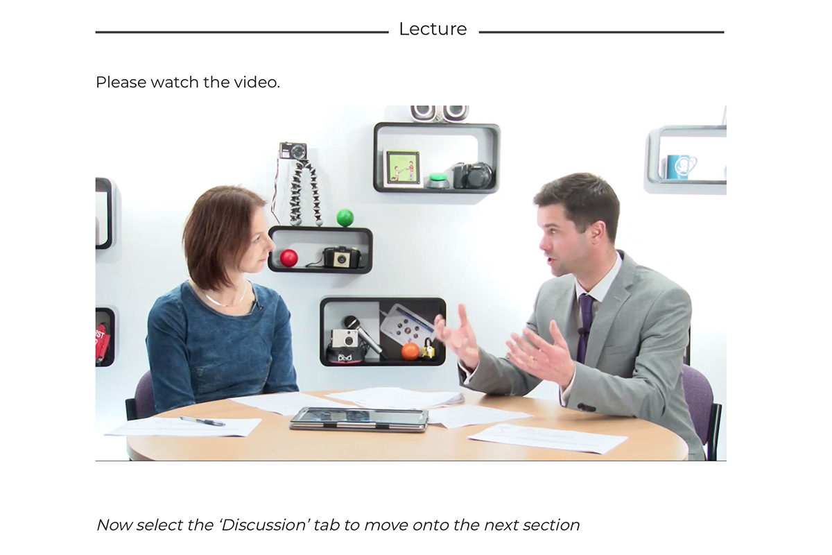 Two people presenting a video lecture
